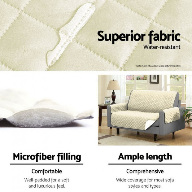 Sofa Cover Quilted Couch Covers Protector Slipcovers 3 Seater Khaki Image 6