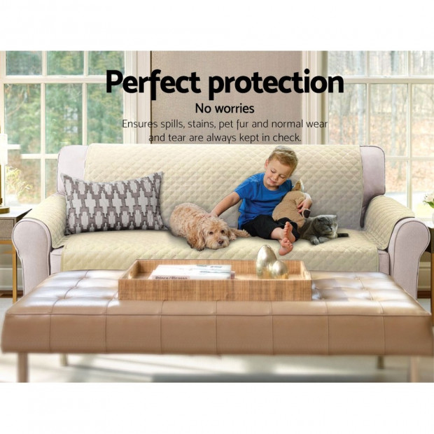 Sofa Cover Quilted Couch Covers Protector Slipcovers 3 Seater Khaki Image 7