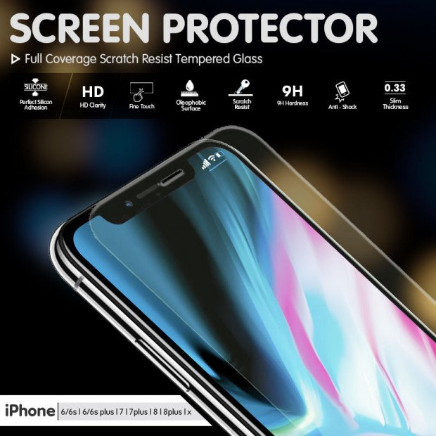 2x Tempered Glass Screen Protector Apple iPhone X 8 7 6 6S Plus