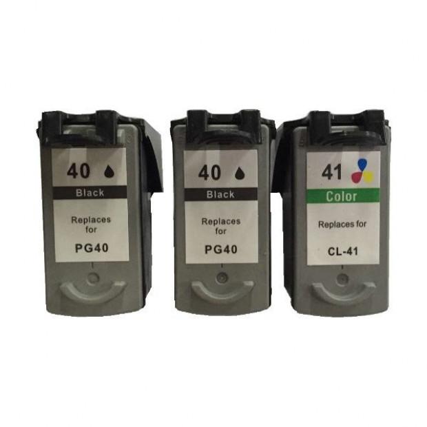 Suit Canon. Remanufactured Pack (2 x PG40 Black & 1 x CL41 Colour)
