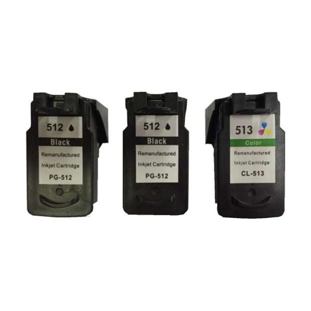 Suit Canon. Remanufactured Pack (2 x PG512 Black & 1 x CL513 Colour)