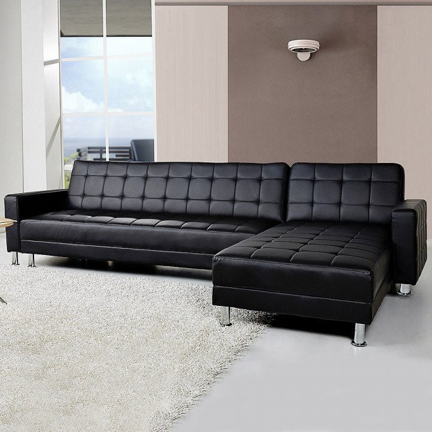 Victoria Modular Tufted Faux Leather Sofa Bed with Chaise by Sarantino - Black