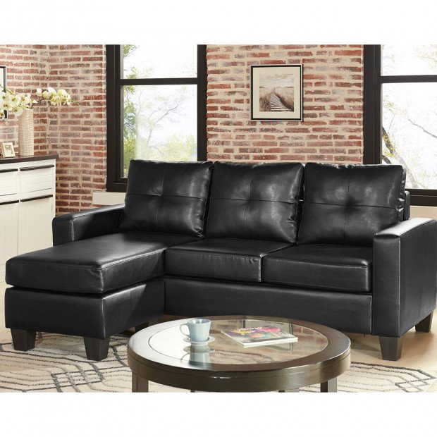 Sarantino Corner Sofa Faux Leather Couch with Chaise - Black
