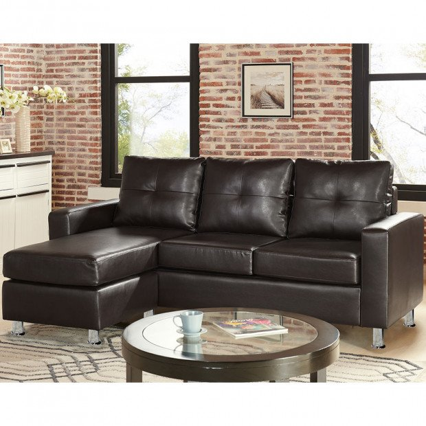 Sarantino Corner Sofa Faux Leather Couch with Chaise - Brown