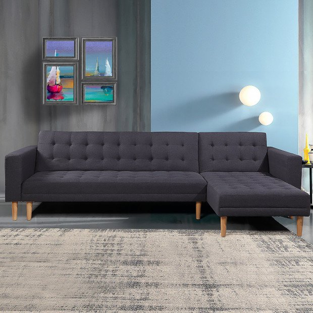 Linen Fabric Corner Sofa Bed Couch Lounge with Chaise - Dark Grey