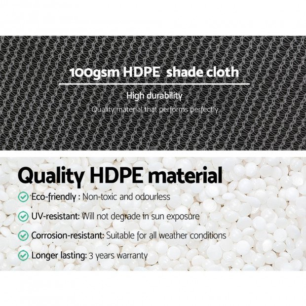 1.83x30m 50% UV Shade Cloth Sail Garden Mesh Roll Outdoor White Image 4