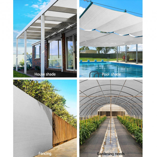 3.66x10m 30% UV Shade Cloth Sail Garden Mesh Roll Outdoor White Image 3