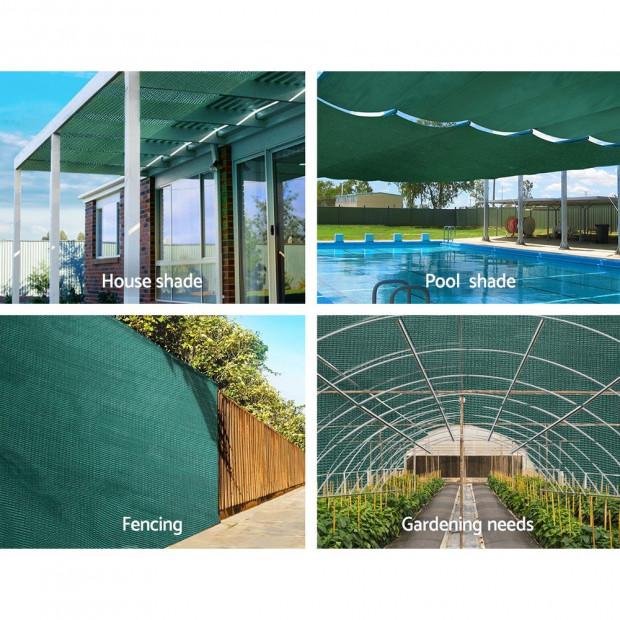 3.66x30m 50% UV Shade Cloth Shadecloth Sail Mesh Roll Outdoor Green Image 3
