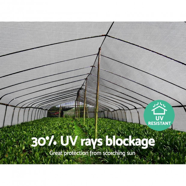 3.66x30m 30% UV Shade Cloth Sail Garden Mesh Roll Outdoor White Image 5