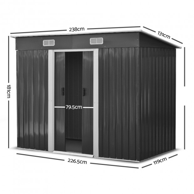 Outdoor Garden Tool Shed Steel 2.35 x 1.31m - Grey Image 2