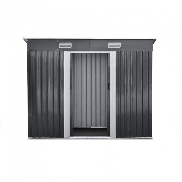 Outdoor Garden Tool Shed Steel 2.35 x 1.31m - Grey Image 3