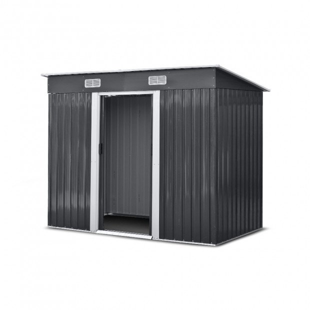 Outdoor Garden Tool Shed Steel 2.35 x 1.31m - Grey Image 4