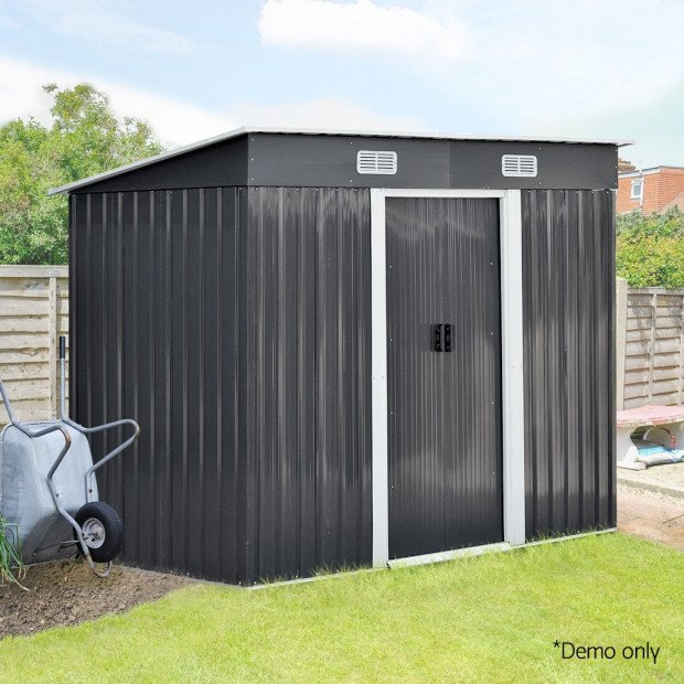 Outdoor Garden Tool Shed Steel 2.35 x 1.31m - Grey Image 11