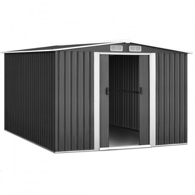 Giantz 2.57 x 3.12m Garden Shed with Roof - Grey Image 1