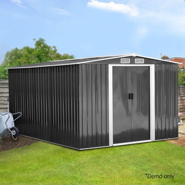 Giantz 2.57 x 3.12m Garden Shed with Roof - Grey Image 8