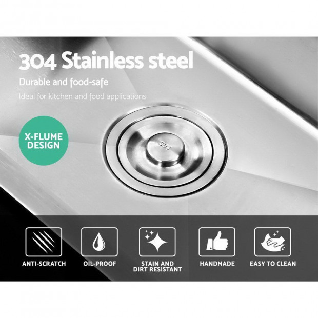 Stainless Steel Kitchen Sink 550x450MM SIngle Bowl Laundry Strainer Image 4