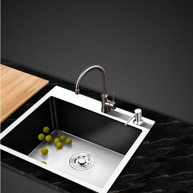 Stainless Steel Kitchen Sink 550x450MM SIngle Bowl Laundry Strainer Image 6