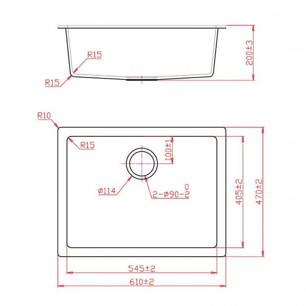 Granite Stone Kitchen Sink Bowl Top or Under mount 610x470mm White Image 1