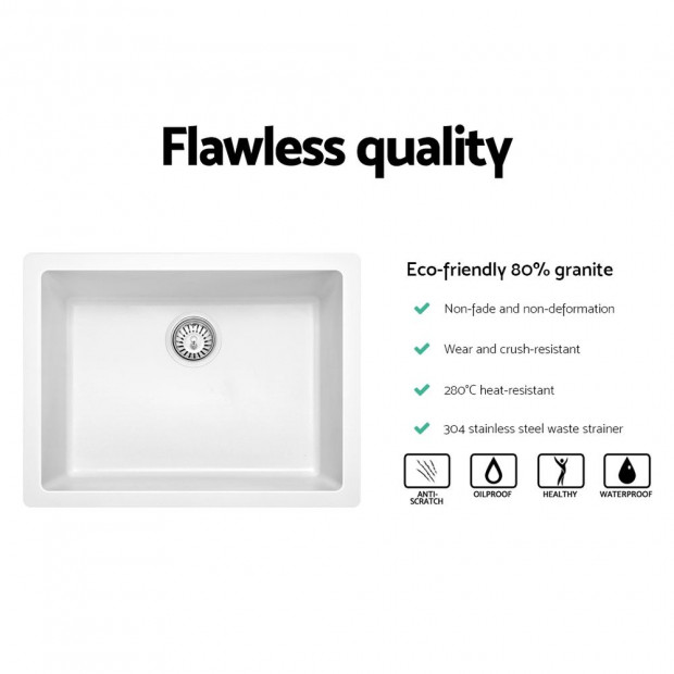 Granite Stone Kitchen Sink Bowl Top or Under mount 610x470mm White Image 2
