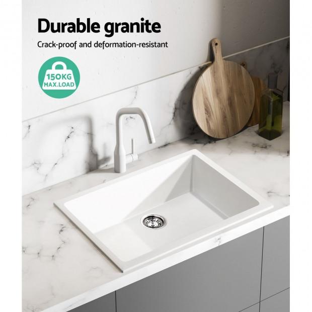 Granite Stone Kitchen Sink Bowl Top or Under mount 610x470mm White Image 5
