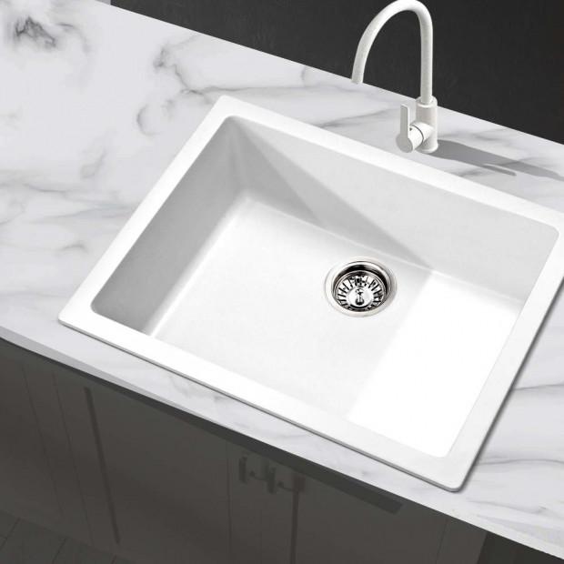 Granite Stone Kitchen Sink Bowl Top or Under mount 610x470mm White Image 6