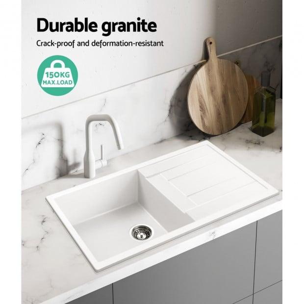 Kitchen Sink Granite Stone Top or Undermount Single White 860x500mm Image 4