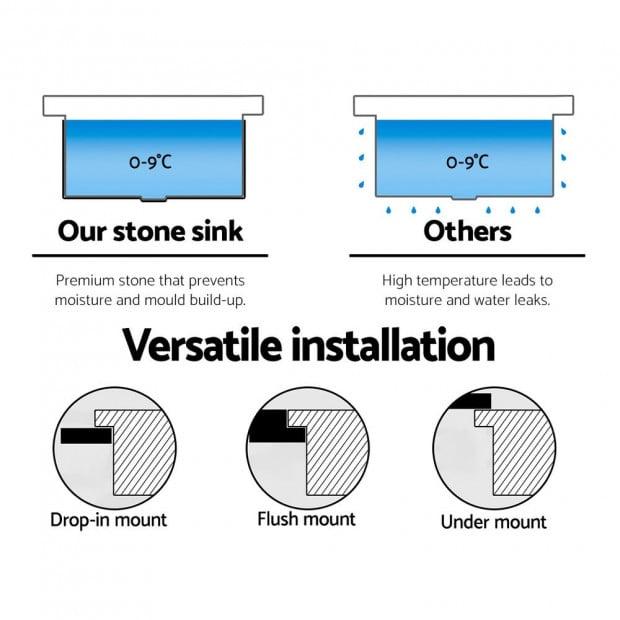 Kitchen Sink Granite Stone Top or Undermount Single White 860x500mm Image 5