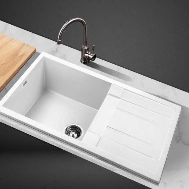Kitchen Sink Granite Stone Top or Undermount Single White 860x500mm Image 6