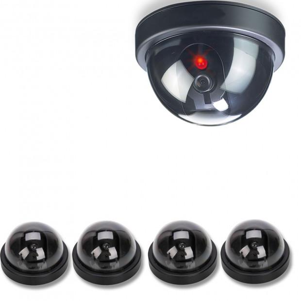 4x Dummy Fake Camera Home Surveillance Realistic Security Flash Led