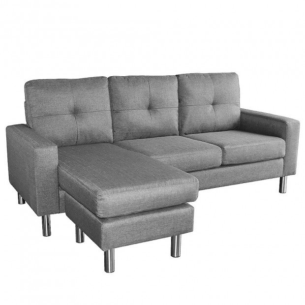 Sarantino Linen Corner Sofa Couch Lounge Chaise with Metal Legs - Grey