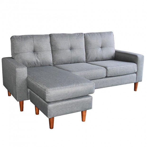 Sarantino Linen Corner Sofa Couch Lounge Chaise w/ Wooden Legs - Grey