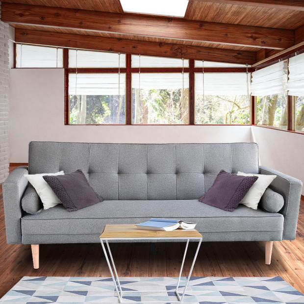 Sarantino 3 Seater Linen Sofa Bed Couch with Pillows - Light Grey