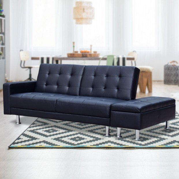 Sarantino 3 Seater Faux Leather Sofa Bed Couch w/ Storage Ottoman - Black