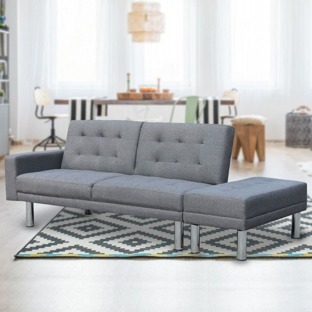 Sarantino 3 Seater Linen Sofa Bed Convertible Couch w/ Footstool Grey