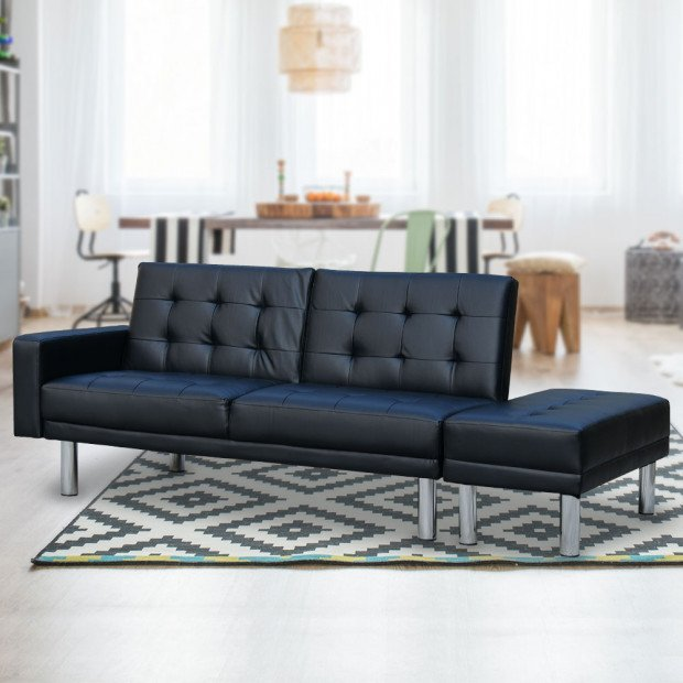 Sarantino 3 Seater Faux Leather Sofa Bed Couch w/ Footstool Black