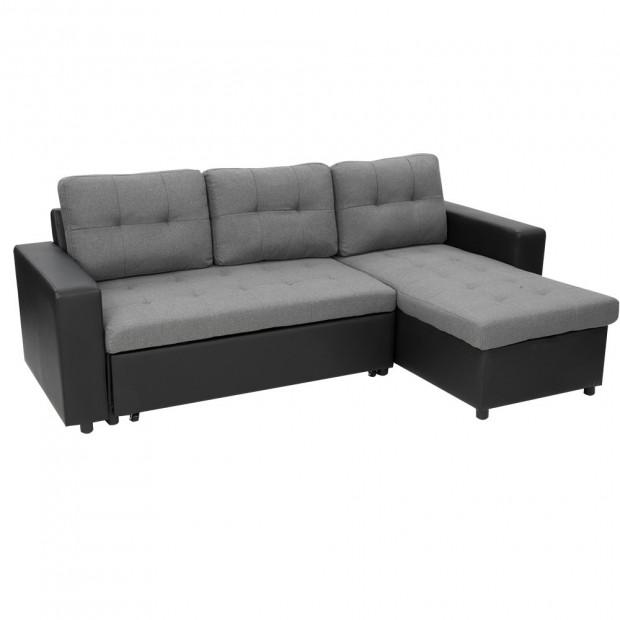 Sarantino Corner Sofa Bed Storage Lounge Chaise Couch Black Grey