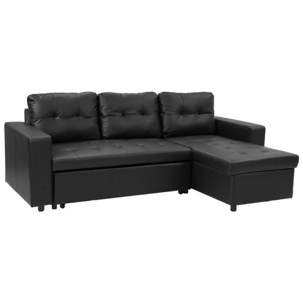 Sarantino Corner Sofa Bed Storage Chaise Couch Faux Leather - Black