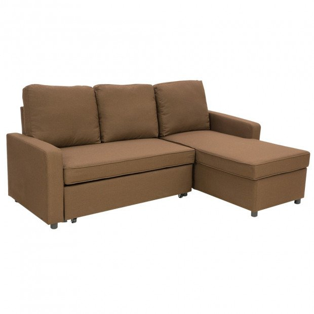 Sarantino 3-Seater Corner Sofa Bed Lounge Storage Chaise Couch Brown