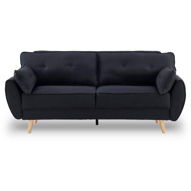 Sarantino 3 Seater Modular Linen Fabric Sofa Bed Couch Futon - Black