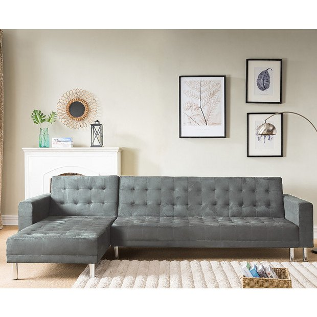 Sarantino Faux Velvet Corner Sofa Bed Couch with Chaise - Grey