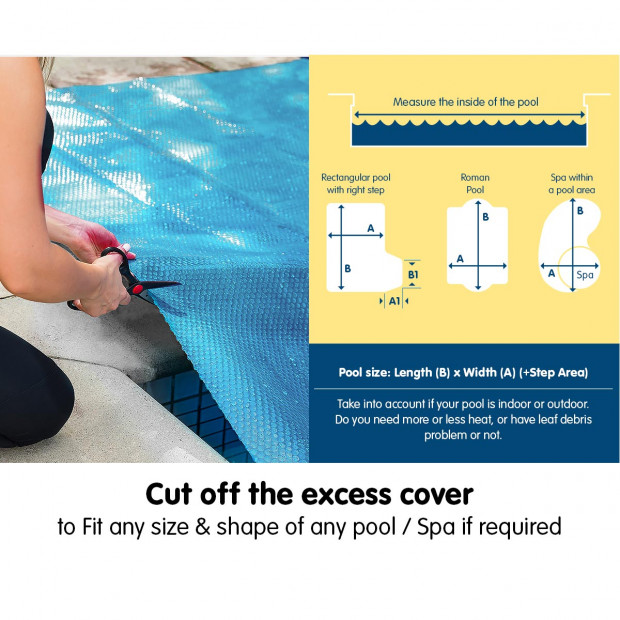 Hydroactive 400 Micron Solar Swimming Pool Cover - Blue Image 7