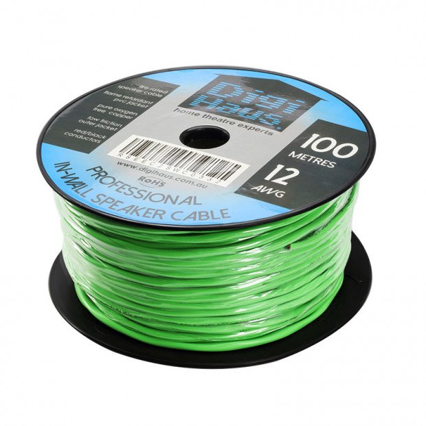 100m Ultra Premium In-Wall Speaker Cable, 12 AWG, Fire Rated
