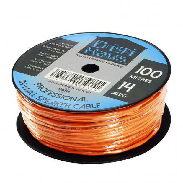 100m Premium In-Wall Speaker Cable, 14 AWG, Fire Rated