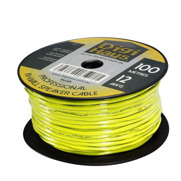 100m Ultra Premium Speaker Cable, 12 AWG, In-Wall Installation