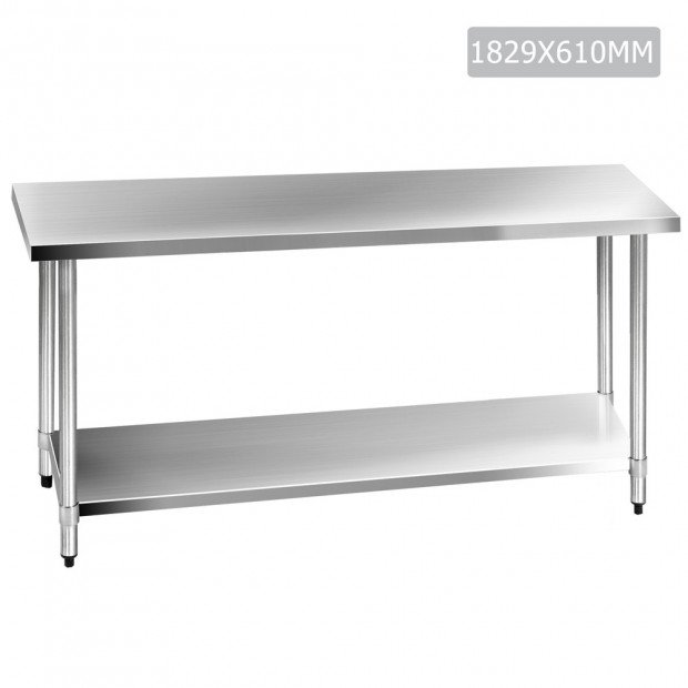 1829 x 610mm Commercial Stainless Steel Kitchen Bench