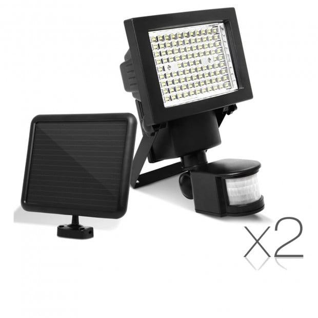 Set of 2 100 LED Solar Powered Motion Sensor Lights Image 1