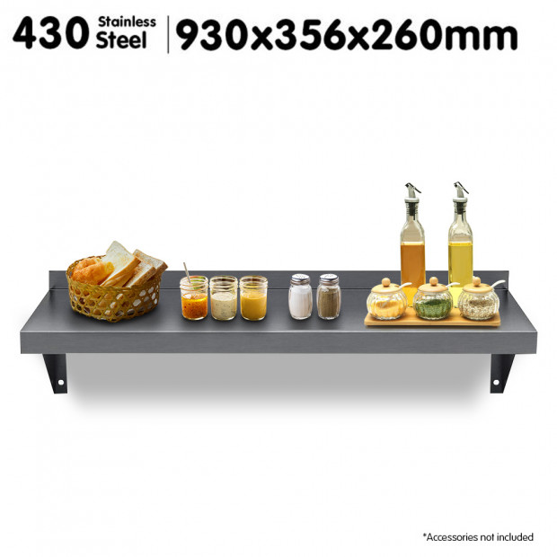 930x356mm Stainless Steel Wall Mounted Shelf