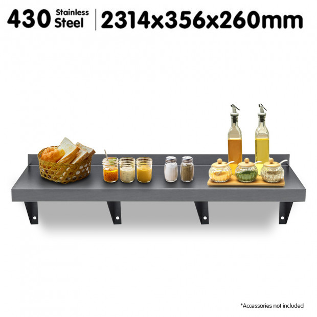 2134x356mm Stainless Steel Wall Mounted Shelf