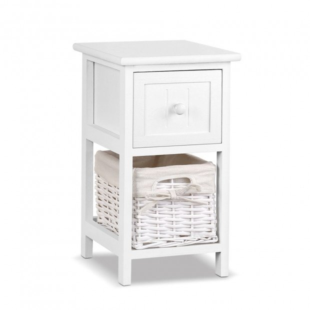 2 PCS Ariss Bedside Table - White