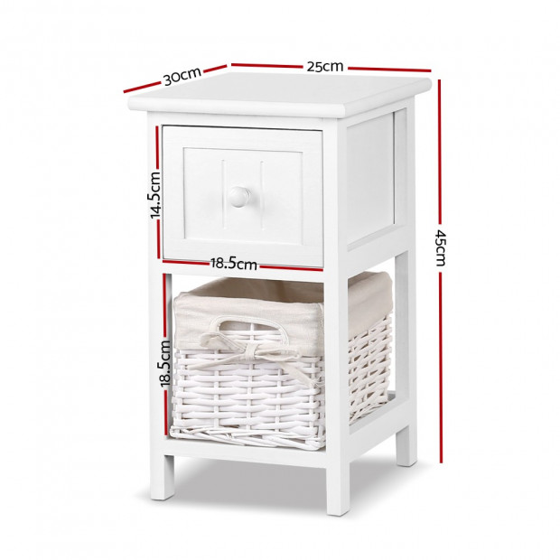 2 PCS Ariss Bedside Table - White Image 2